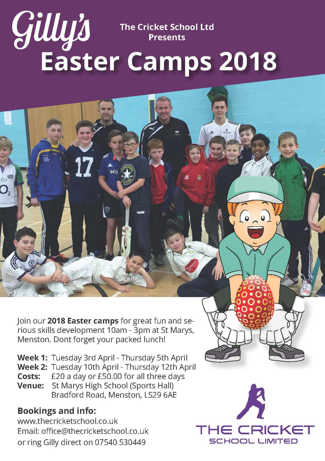 Menston, Rawden, guisely and Horsforth Easter cricket camp 2018